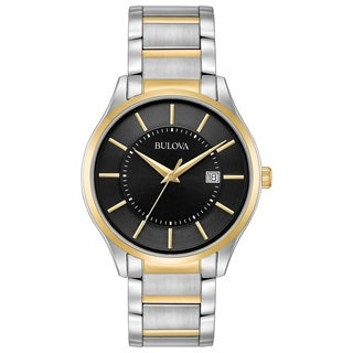 Bulova Men's 98B290 Two-Tone Black Dial Bracelet Watch