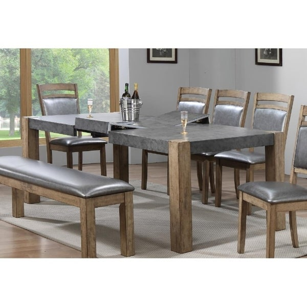 Palmer Grey Stone Rustic Wood Top Erfly Leaf Formal Dining Table