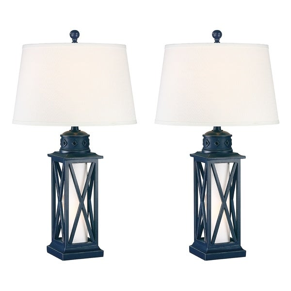 Shop Seahaven Lantern Coastal Table Lamp Navy Blue On