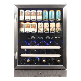 Newair Wine & Beverage Fridge 20 Bottle 70 Can AWB-400DB Stainless Steel