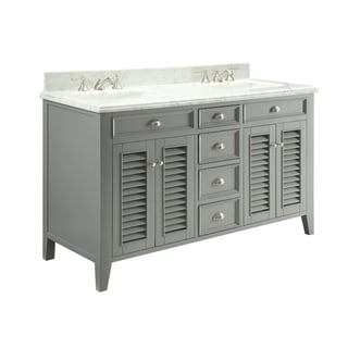 "60"" Benton Collection Kalani Double Sink White Bathroom Vanity"