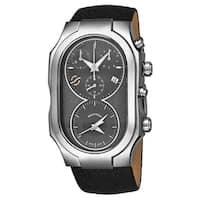 Philip Stein Men's 300-SDG-CB 'Signature' Grey Dial Black Leather Strap Dual Time Chronograph Swiss Quartz Watch