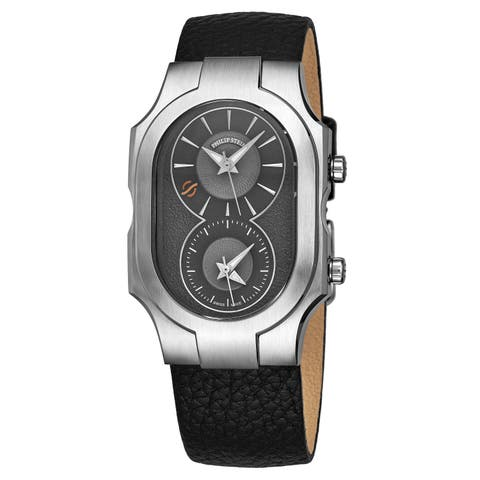 Philip Stein Men's 200-SDG-CB 'Signature' Grey Dial Black Leather Strap Dual Time Swiss Quartz Watch