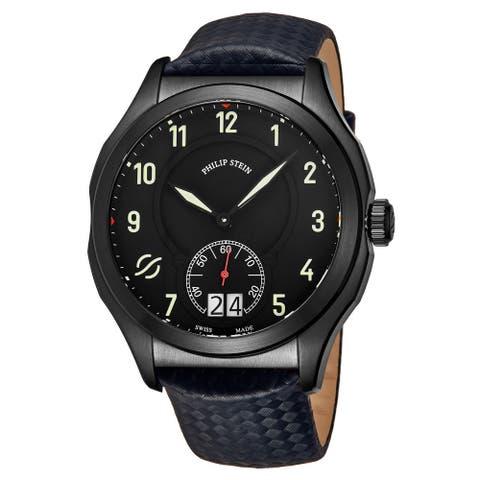 Philip Stein Men's 17B-SBKL-MMN 'Prestige' Black Dial Blue Carbon Fiber Leather Strap Small Seconds Swiss Quartz Watch