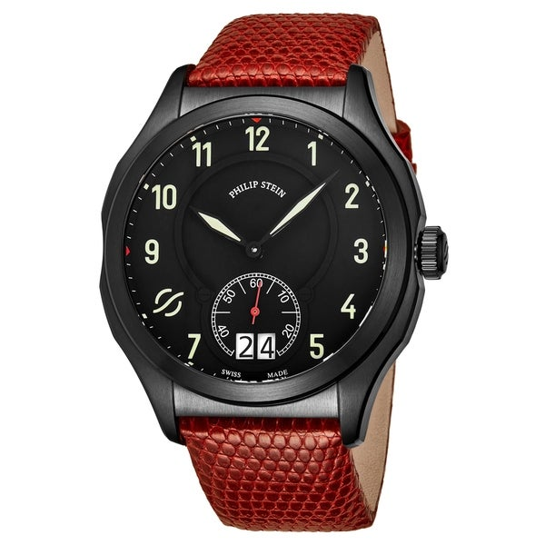Philip Stein Men's 17B-SBKL-ZR 'Prestige' Black Dial Red Leather Strap Small Seconds Swiss Quartz Watch. Opens flyout.
