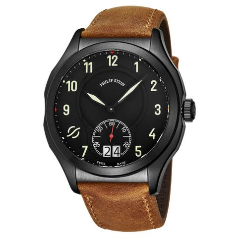Philip Stein Men's 17B-SBKL-CASTM 'Prestige' Black Dial Brown Leather Strap Small Seconds Swiss Quartz Watch