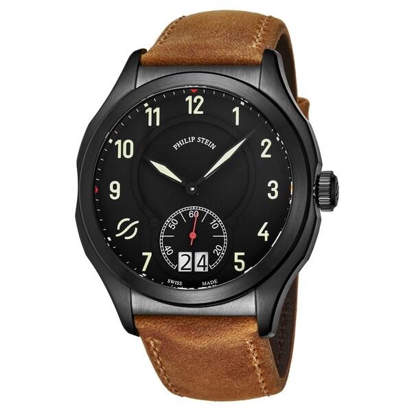 Philip Stein Men's 17B-SBKL-CASTM 'Prestige' Black Dial Brown Leather Strap Small Seconds Swiss Quartz Watch. Opens flyout.