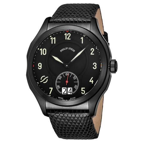 Philip Stein Men's 17B-SBKL-ZB 'Prestige' Black Dial Black Leather Strap Small Seconds Swiss Quartz Watch