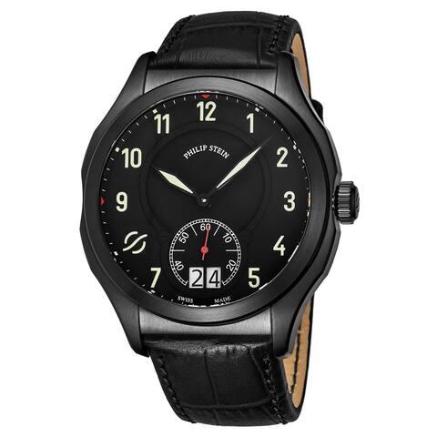 Philip Stein Men's 17B-SBKL-AB 'Prestige' Black Dial Black Leather Strap Small Seconds Swiss Quartz Watch
