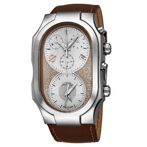 Philip Stein Men's 300-SBE-CRSTCH 'Signature' Cream/Silver Dial Brown Leather Strap Dual Time Chronograph Swiss Quartz Watch