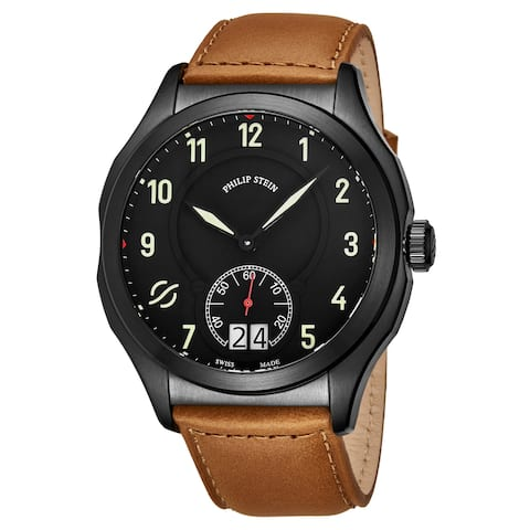 Philip Stein Men's 17B-SBKL-CISCRP 'Prestige' Black Dial Suntanned Beige Leather Strap Small Seconds Swiss Quartz Watch