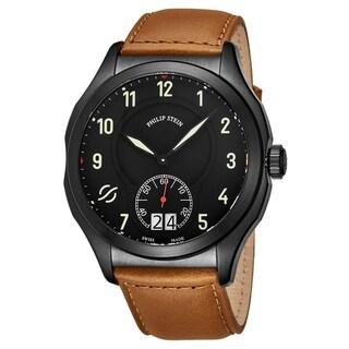 Link to Philip Stein Men's 17B-SBKL-CISCRP 'Prestige' Black Dial Suntanned Beige Leather Strap Small Seconds Swiss Quartz Watch Similar Items in Men's Watches