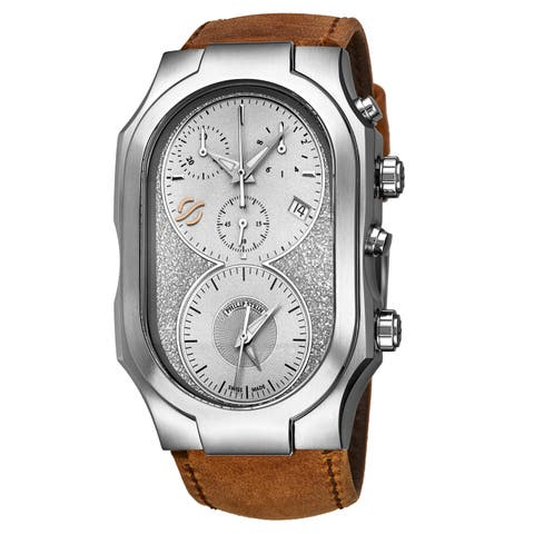 Philip Stein Men's 300-SLG-CASTM 'Signature' Silver Dial Beige Leather Strap Dual Time Chronograph Swiss Quartz Watch