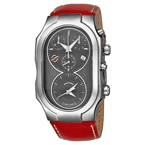 Philip Stein Men's 300-SDG-CSTR 'Signature' Grey Dial Red Leather Strap Dual Time Chronograph Swiss Quartz Watch