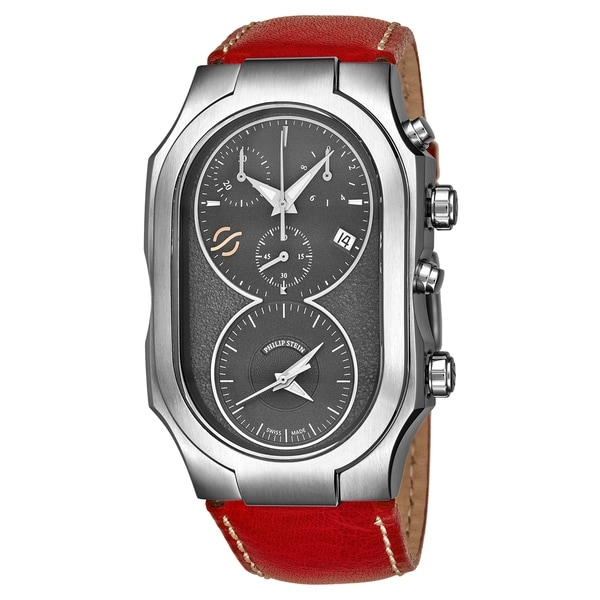 Philip Stein Men's 300-SDG-CSTR 'Signature' Grey Dial Red Leather Strap Dual Time Chronograph Swiss Quartz Watch. Opens flyout.