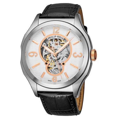 Philip Stein Men's 17A-SKFW-CSTAN 'Prestige' White Open Skeleton Dial Navy Blue Leather Strap Swiss Automatic Watch