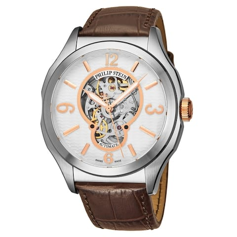 Philip Stein Men's 17A-SKFW-CSTACH 'Prestige' White Open Skeleton Dial Brown Leather Strap Swiss Automatic Watch