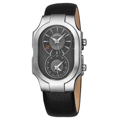 Philip Stein Men's 200-SDG-CBK 'Signature' Grey Dial Black Leather Strap Dual Time Swiss Quartz Watch