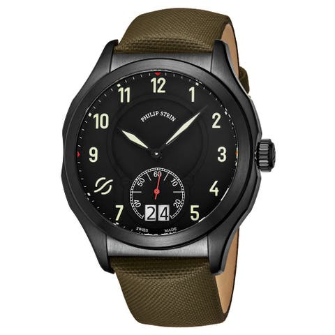 Philip Stein Men's 17B-SBKL-TG 'Prestige' Black Dial Khaki Green Fabric/Leather Strap Small Seconds Swiss Quartz Watch
