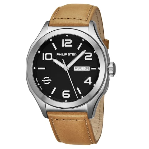Philip Stein Men's 16A-WLBK-CISCRP 'Prestige' Black Dial Beige Leather Strap Day Date Swiss Automatic Watch