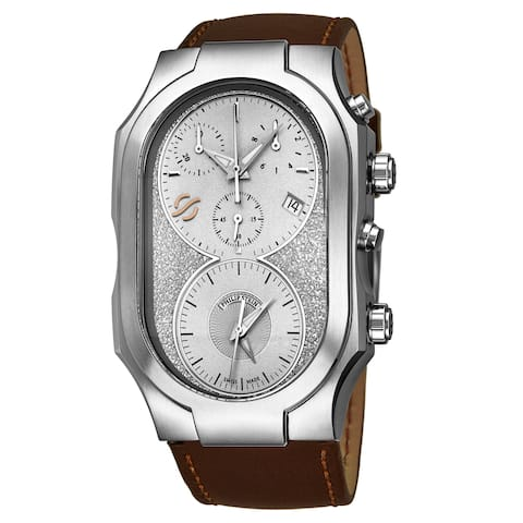 Philip Stein Men's 300-SLG-CRSTBR 'Signature' Silver Dial Brown Leather Strap Dual Time Chronograph Swiss Quartz Watch