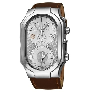 Link to Philip Stein Men's 300-SLG-CRSTBR 'Signature' Silver Dial Brown Leather Strap Dual Time Chronograph Swiss Quartz Watch Similar Items in Men's Watches