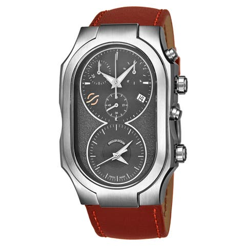 Philip Stein Men's 300-SDG-CRSTCH 'Signature' Grey Dial Brown Leather Strap Dual Time Chronograph Swiss Quartz Watch