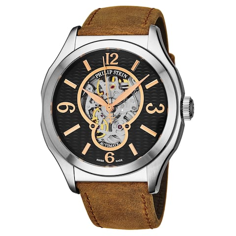 Philip Stein Men's 17A-SKFB-CASSTBR 'Prestige' Black Open Skeleton Dial Brown Leather Strap Swiss Automatic Watch
