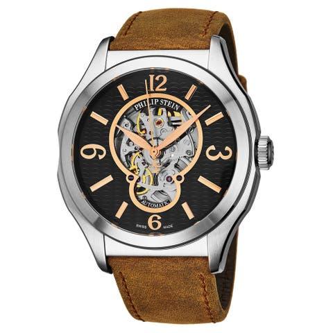 Philip Stein Men's 17A-SKFB-CASSTBR 'Prestige' Black Open Skeleton Dial Brown Leather Strap Swiss Automatic Watch