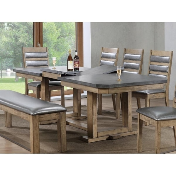 Palmer Rustic Natural Grey/Brown Rubberwood Trestle Base Butterfly Leaf Table
