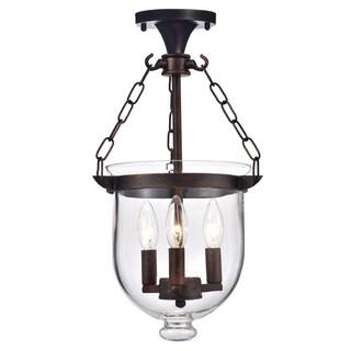 Laurel Creek Adolf Antique Copper Bell Jar Glass Lantern Chandelier (As Is Item)