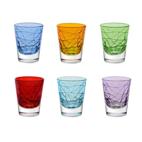 Majestic Gifts European Quality Set/6 Asstd Colors Glass Highball Tumblers