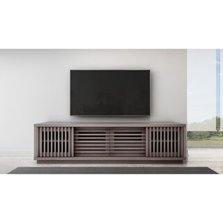 Furnitech Contemporary Rustic Coastal Grey American Red Oak Veneer 82-Inch 2-Drawer TV Stand/Media Console
