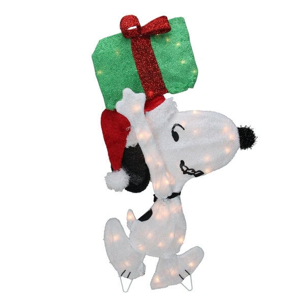 Peanuts Outdoor Christmas Decorations.32 Pre Lit Peanuts Snoopy With A Present Christmas Outdoor Decoration