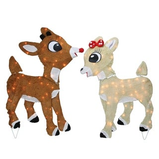 """32"""" Rudolph The Red Nosed Reindeer and Clarice Outdoor Xmas Decoration"""