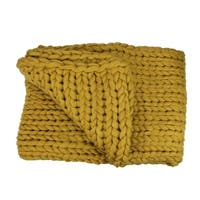 """Golden Mustard Cable Knit Plush Throw Blanket 60"""" x 50"""""""