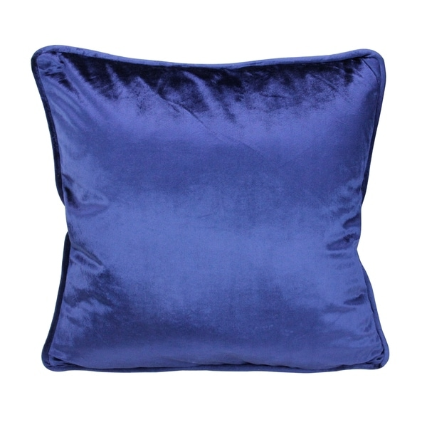 "17"" Navy Blue Plush Velvet Square Throw Pillow"
