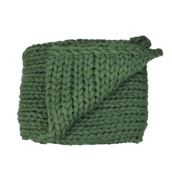 "Hunter Green Cable Knit Plush Throw Blanket 60"" x 50"""