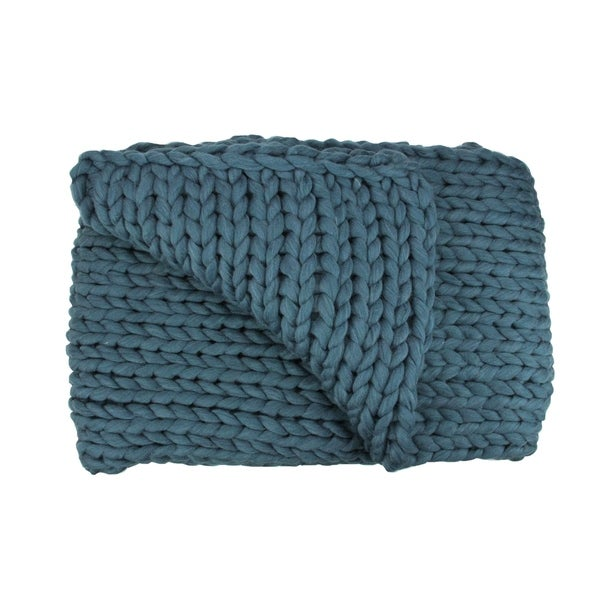 "Teal Blue Cable Knit Plush Throw Blanket 60"" x 50"""