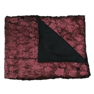 "Burgundy Plush and Velvety Faux Fur Throw Blanket 60"" x 50"""