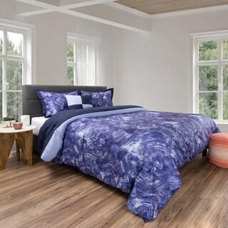 5 Piece Comforter Set Swirl Design By Windsor Home (Blue/Violet)