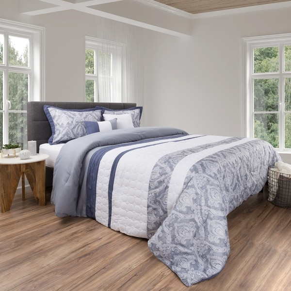 5 Piece Comforter Set Paisley Design By Windsor Home (Grey/White)