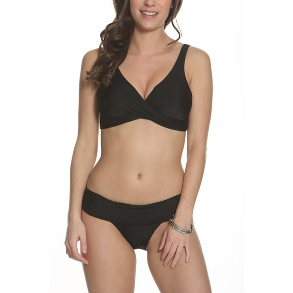 Sun and Sea Solid As A Rock Crossover Bikini Top with Fold Over Bottom Set