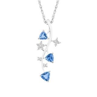 14K White Gold Tanzanite and Diamond Pendant