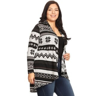 Women's Plus Size Casual Pattern Lightweight Open Front Cardigan Sweater