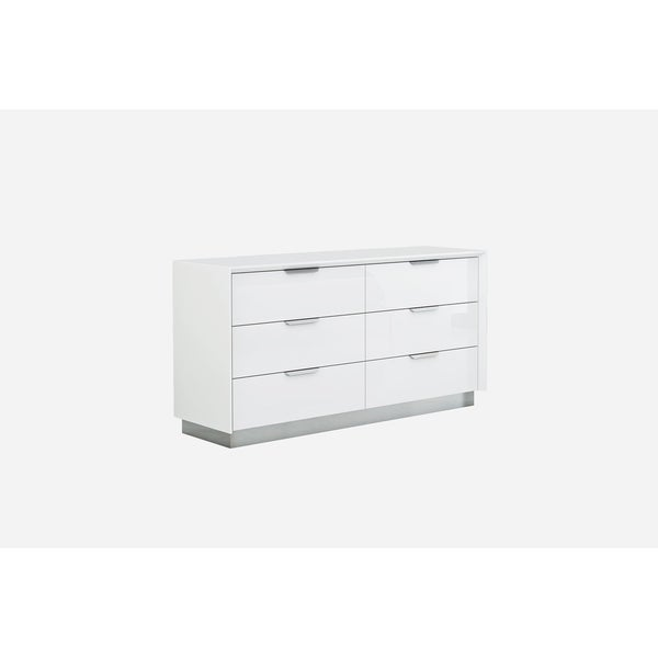 Navi High-Gloss Wood and Stainless Steel 6-Drawer Double Dresser