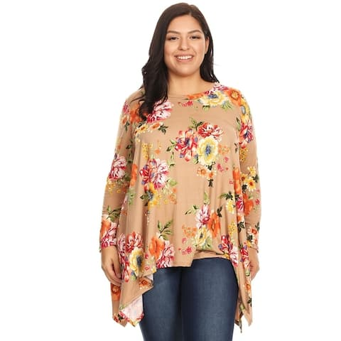 Women's Basic Pattern Lightweight Relaxed Fit Plus Size Tunic Top