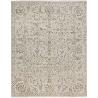 ECARPETGALLERY  Hand-knotted Finest Ushak Light Grey Wool Rug - 8'0 x 10'3
