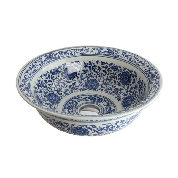 Fontaine Antiqued Blue and White Porcelain Bathroom Vessel Sink