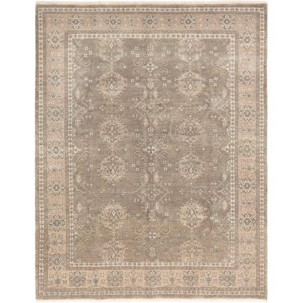 ECARPETGALLERY Hand-knotted Finest Ushak Dark Grey Wool Rug - 7'10 x 10'0